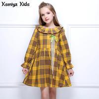 Kseniya Kids 2017 Orange Girl Autumn Winter Dress Baby Girls Long Sleeve Dresses Outerwears O Neck