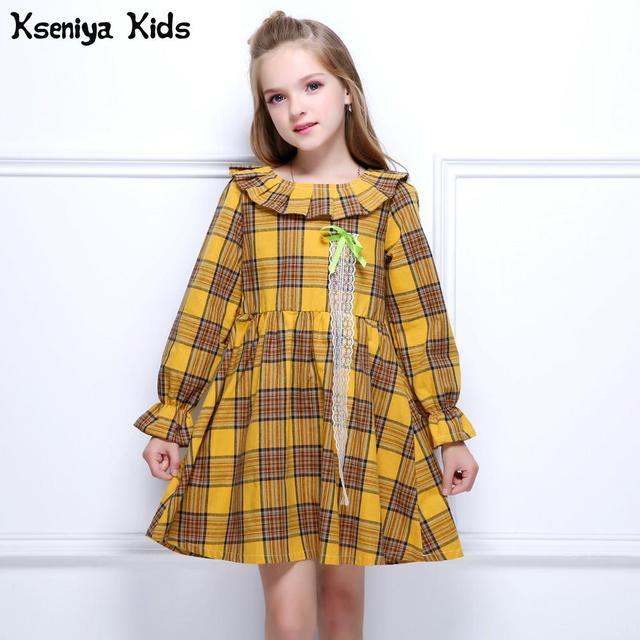 b4a0a127535 Kseniya Kids 2017 Orange Girl Autumn Winter Dress Baby Girls Long Sleeve  Dresses Outerwears O-