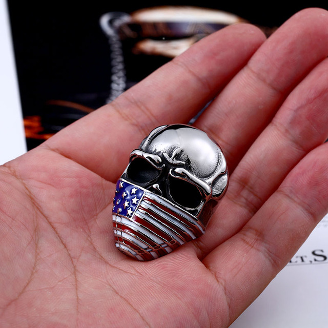 Beier new store arrival high quality American flag mask ring fashion biker heavy skull 316L Stainless Steel ring   LLBR8-283R
