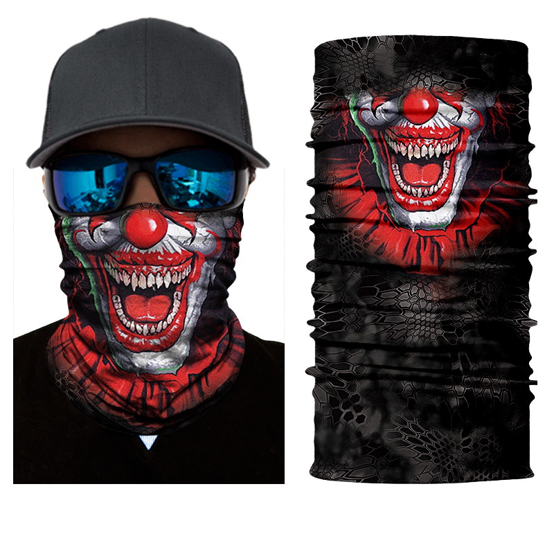 2018 Seamless Skull Skeleton Joker Clown Balaclava Tube Neck Face Mask Scarf Motorcycle Bicycle Hunting Outdoor Bandana Headband multi purpose skeleton pattern triangular scarf mask