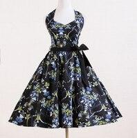 2015 Summer New Dark Floral Dress Novelty Retro Vintage Design Cotton Plus Size 50s Style Sexy