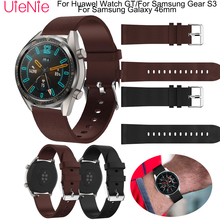 22mm Classic Leather Strap For Samsung Gear S3 frontier Huawel Watch GT wristband Galaxy 46mm Bracelet
