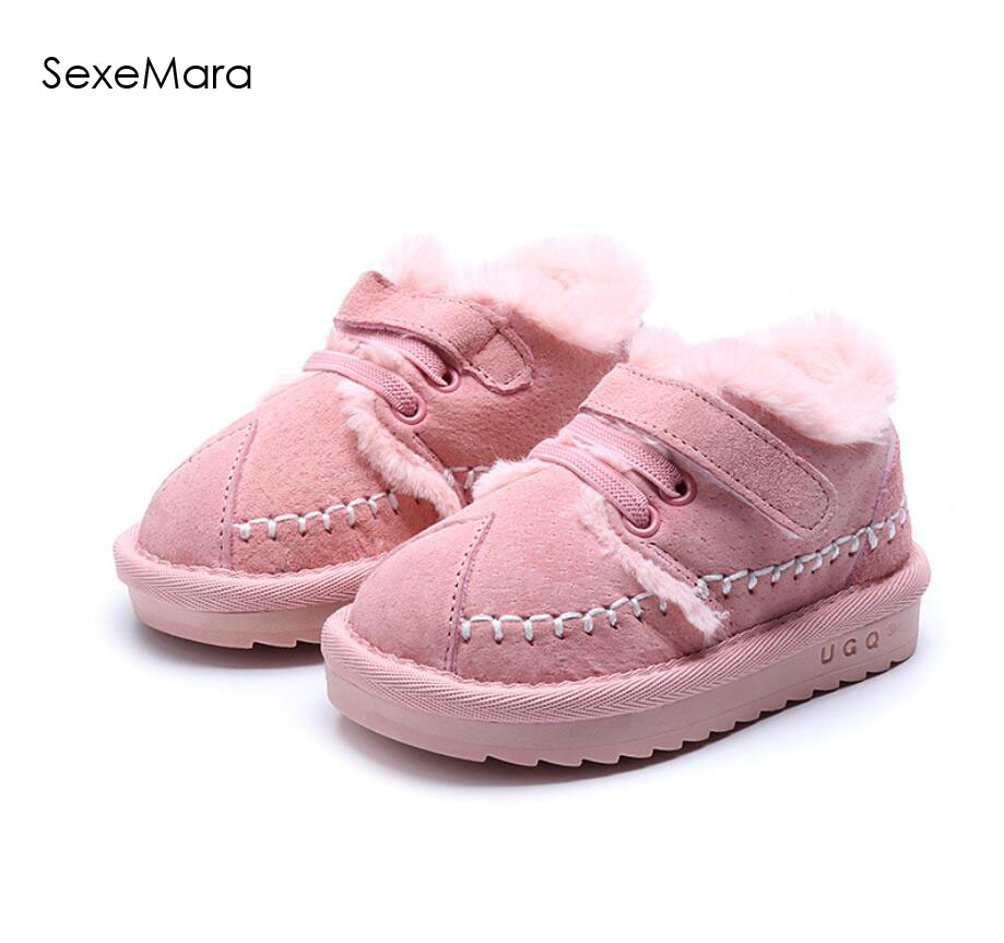 808ca9bdfcf Image Brand Winter Kids Shoes Genuine Leather With Plush Girls Boys Sneakers  Warm Shoes Waterproof Kids