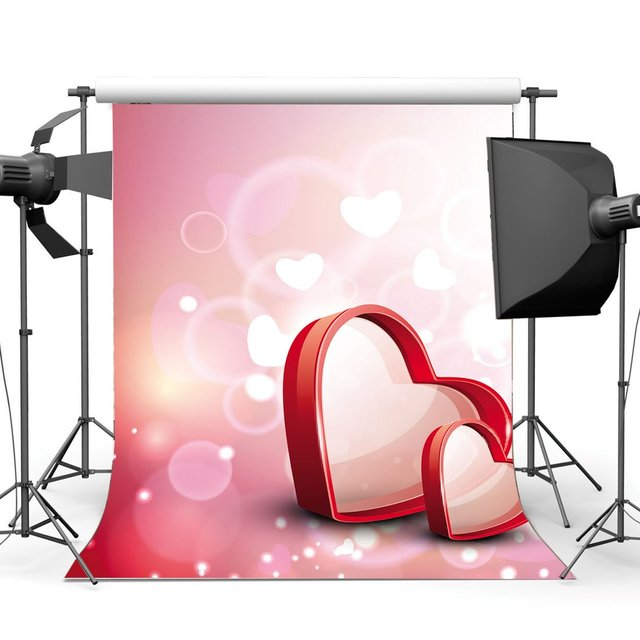 Happy Valentines Day Backdrop Sweet Red Love Bokeh Glitter Sequins Pink Romantic Wallpaper Background
