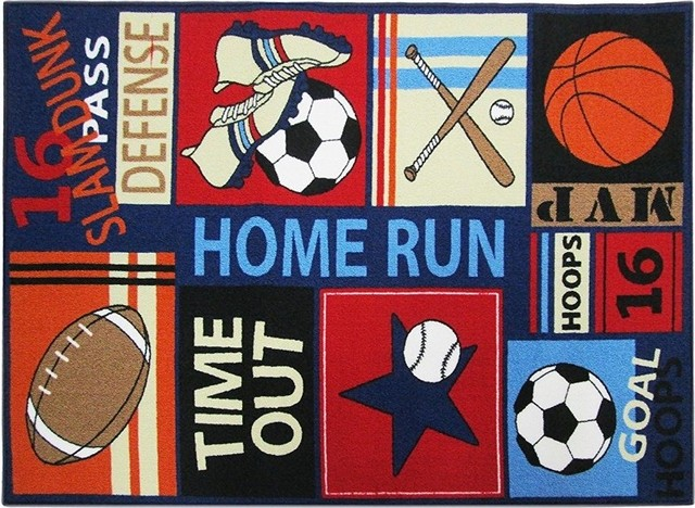 Kids Area Rugs With Sports Style Dark Blue Color Carpets 100 Nylon