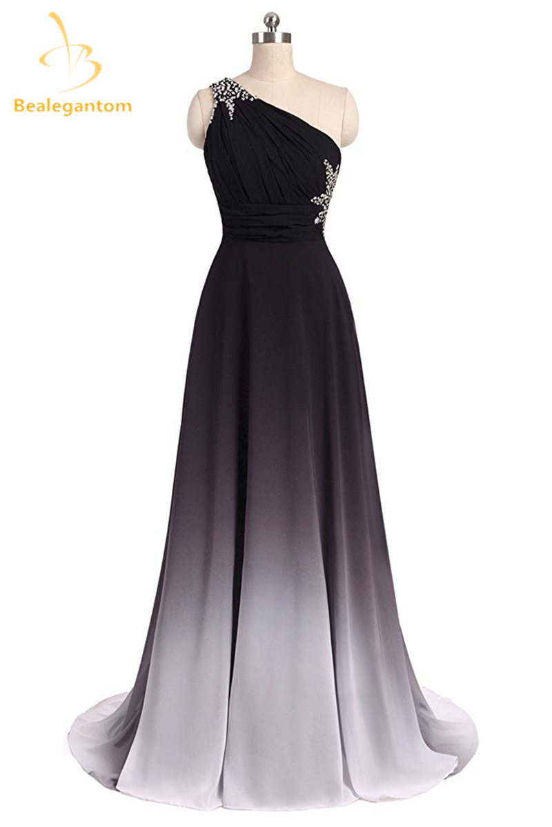 Bealegantom Sexy Long Black Red Chiffon   Prom     Dresses   With One Shoulder Lace Up Formal Evening Party Gown Vestido Longo QA1566