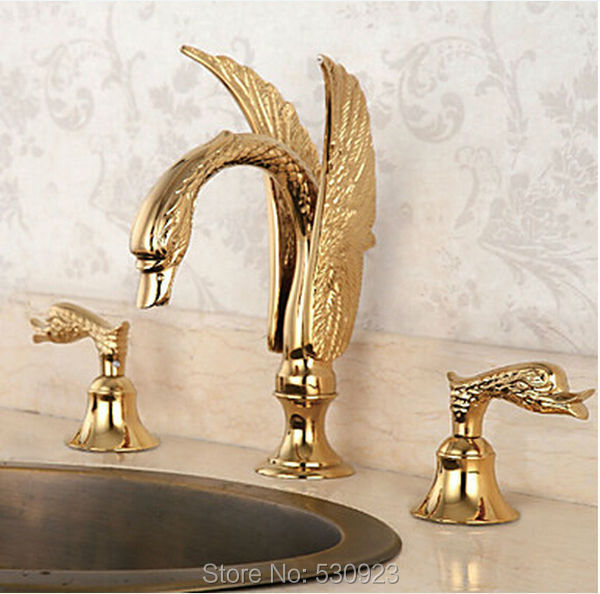 Newly Golden Polished Bathroom Basin Sink Faucet Luxury Flying Swan Shape Mixer Tap Dual Handles Three Holes Deck Mounted newly euro style luxury bathroom diamante basin faucet solid brass rose golden polished sink mixer tap single handle deck mount