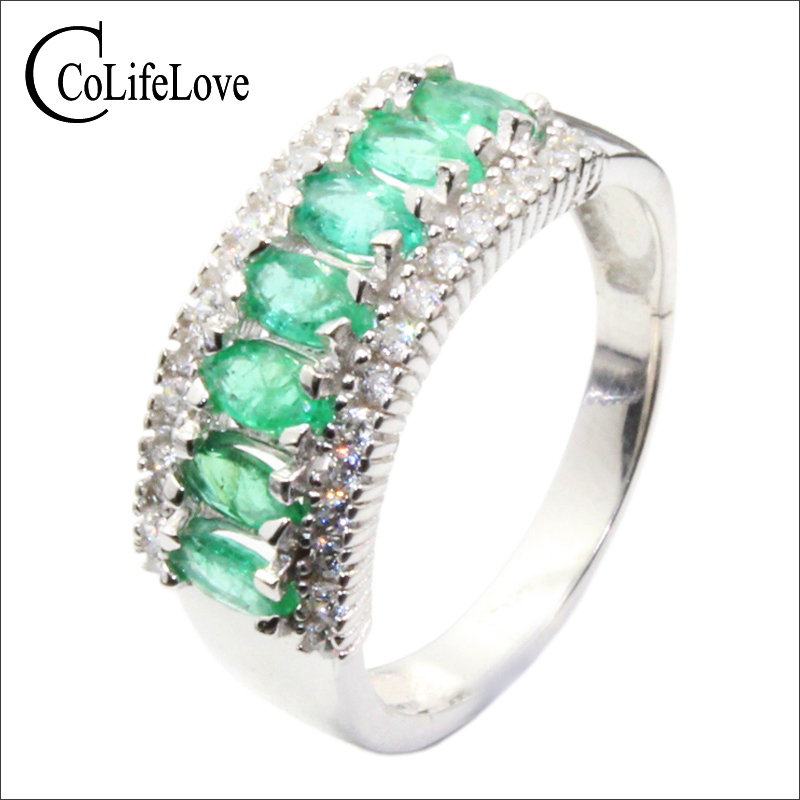 Vintage silver emerald ring for party SI grade natural emerald silver ring 925 sterling silver emerald jewelry romantic gift