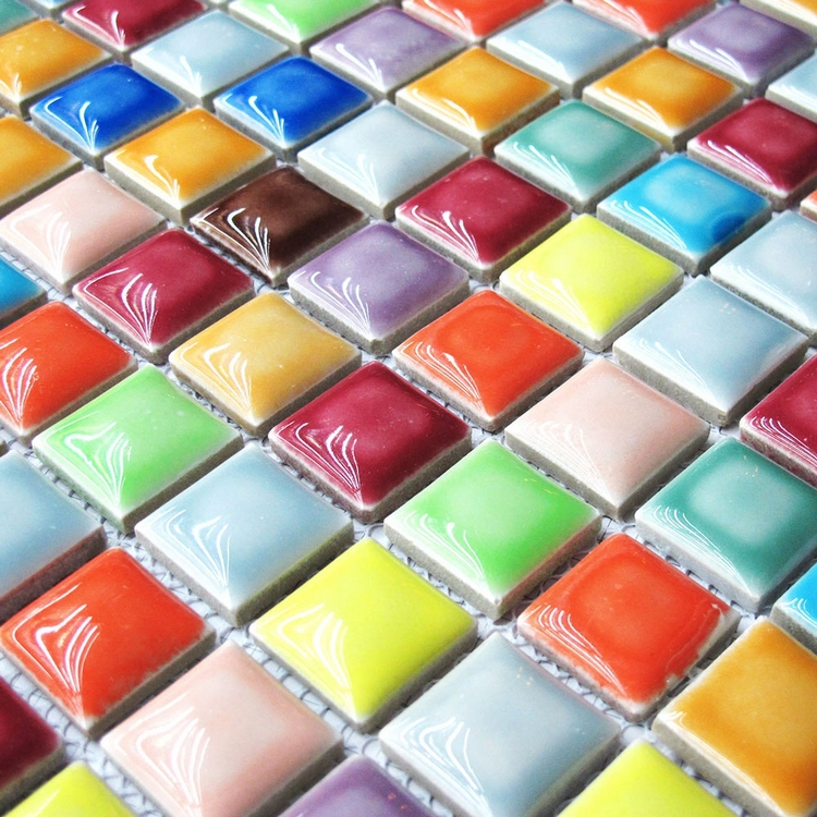 12mm Rainbow Candy Iridescent Glazed Glass mosaic tile for Kitchen ...
