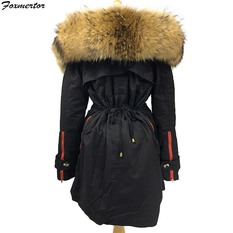 2019 Black Army Green  Winter Jacket Coat Women Brand Parkas 100% Real Natural Raccoon Fur Collar Hooded Female Padded Outwear