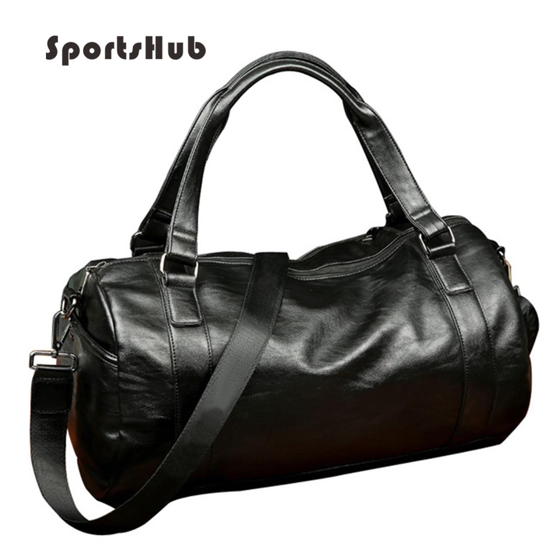 SPORTSHUB Top PU Leather Men's Sports Bags Gym Bags Classic Sports HandBag Fitness Travel Bags Workout Shoulder Bag SB0004