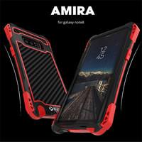 Original R-Just New Case For Samsung note 8 Shockproof Case For Samsung Galaxy Note 8 Aluminum Silicone Carbon fiber Case