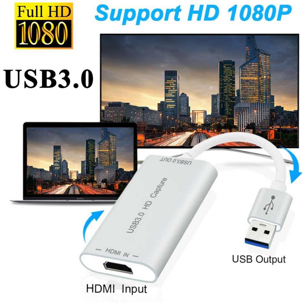 High Speed USB3.0 HD Capture Dongle HDMI to USB 3.0 Adapter Converter HDMI Video Cable Capture Device for PC Plug & Play usb to hdmi hdtv full hd mirroring adapter cable converter cord plug and play for ios android smartphones supports dual system