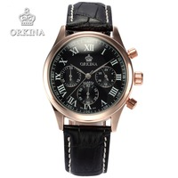 Orkina Brand Clock 2016 New Luxury Chronograph Rose Gold Case Black Dial Japan Movement Mens Wrist Watch Cool Horloges