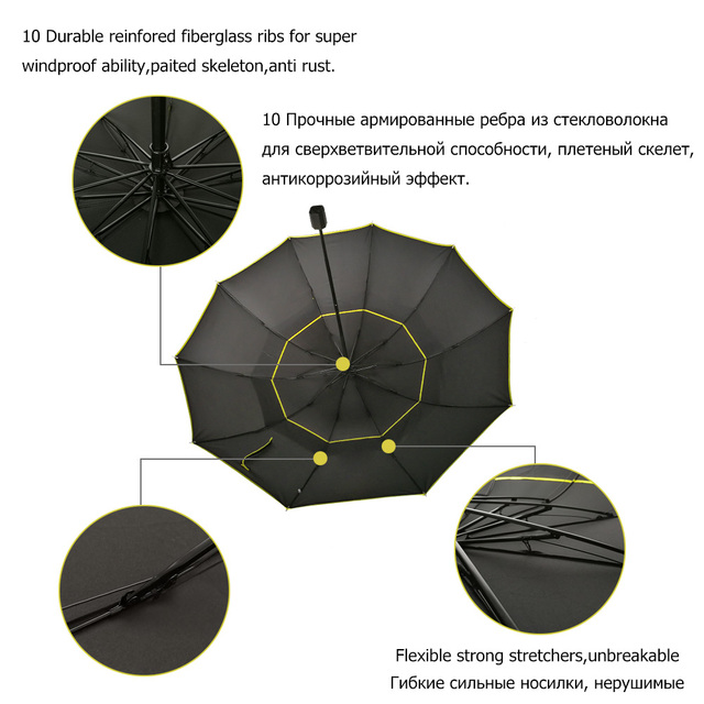 130cm Big Top Quality Umbrella Men Rain Woman Windproof Large Paraguas Male Women Sun 3 Floding Big Umbrella Outdoor Parapluie 3