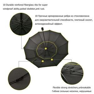Image 4 - 130cm grand haut qualité Parapluie hommes pluie femme coupe vent grand paraguay mâle femmes soleil 3 pliant grand Parapluie en plein air Parapluie