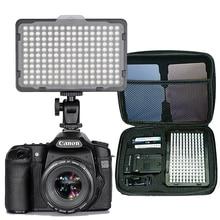 176 Uds luz LED para cámara DSLR videocámara luz continua, batería y cargador USB, funda de transporte fotografía para estudio de vídeo y fotografía
