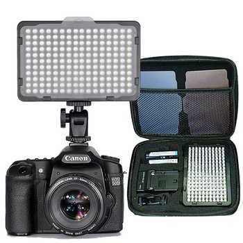 176 Uds luz LED para videocámara DSLR luz continua, batería y cargador USB, funda de transporte fotografía para estudio de vídeo y fotografía