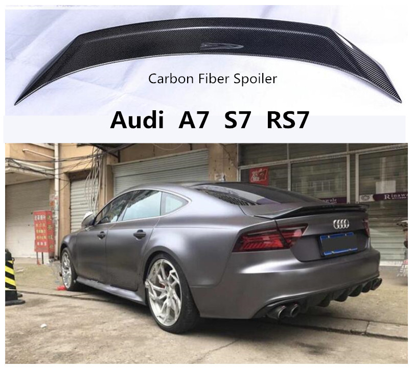 Carbon Fiber Spoiler For Audi A7 S7 RS7 2010-2019 High Quality Spoilers Auto Accessories By EMS 2014 s7 audi spoiler