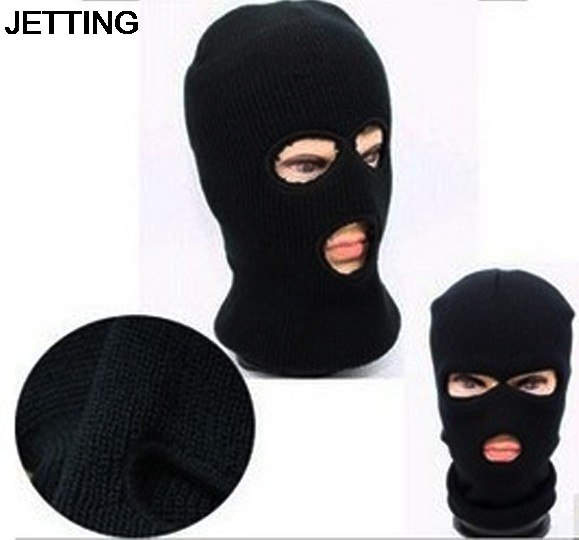 3 Hole Mask Balaclava Black Knit Hat Face Shield Beanie Cap Snow Winter Warm High Quality
