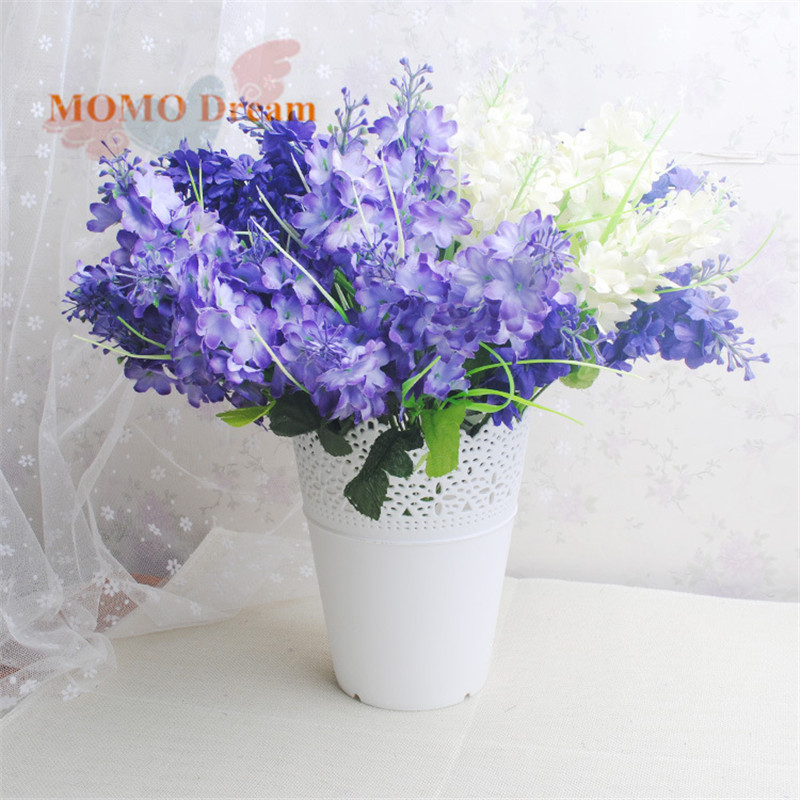 5 heads/bouquet Silk flower romantic provence 3 colors artificial flowers lavender decoration party wedding garden