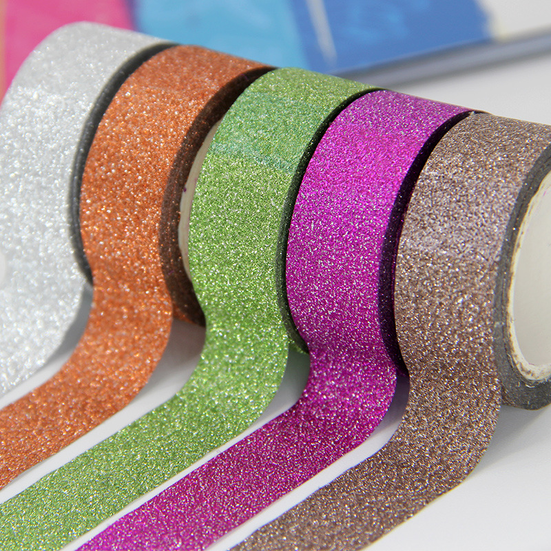 5PCS Glitter Washi Sticky Paper Color Tape DIY Decorative Adhesive Tape Masking Tape Sticker For Home Decoration 1.5CM*5M JD09