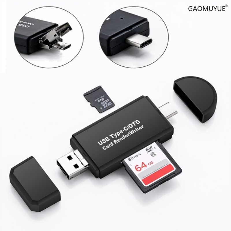 GAOMUYUE ประเภท C และ micro USB และ USB 3 in 1 card reader สำหรับโทรศัพท์ USB2.0 ตัวอ่านการ์ด SD/TF การ์ดใช้สำหรับคอมพิวเตอร์ Dp4