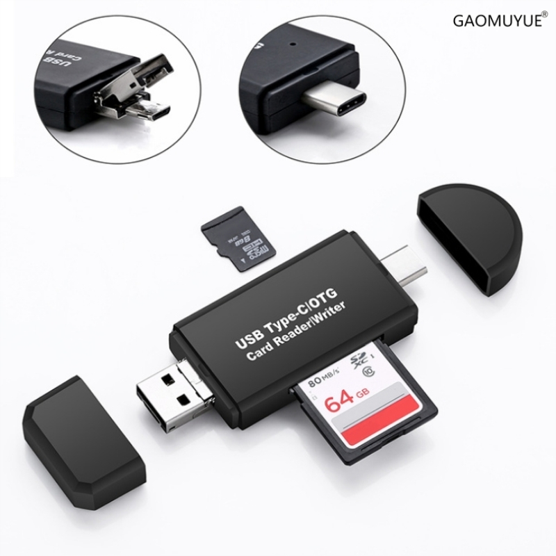GAOMUYUE Type C & Micro USB & USB 3 In 1  Card Reader For Phones With USB2.0 Card Readers For SD/TF Cards Used For Computer Dp4