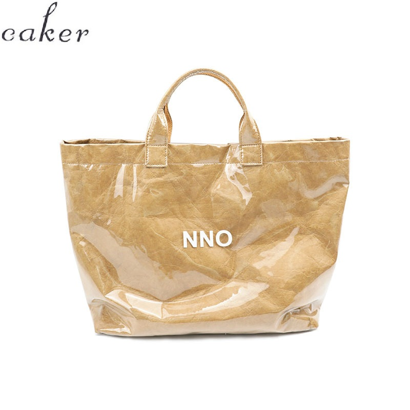 Caker Brand 2019 Women Kraft Paper Large Big Letter PVC Handbags Shopping Bags Wholesale