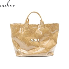 Caker Brand 2019 Women Kraft Paper Large Big Letter PVC Handbags Shopping Bags Wholesale
