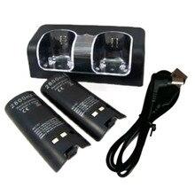 Recarregável com Carregador Station para WII 2×2800 MAH Bateria Duplo Dock Remote Control Black & White Atacado