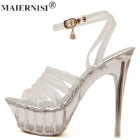 Summer Platform Sexy Clear Pvc Strappy Sandals Shoe For Stripper Pole Dance Women Large Size High