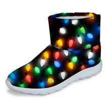 FORUDESIGNS Cool Colorful Christmas Style Women Winter Snow Short Boots Lady Black Comfort Non-Slip Rian Fur Snowboots Shoes