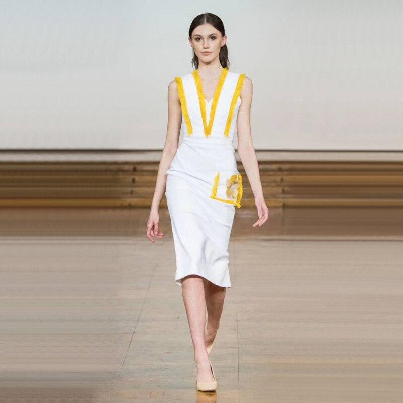 2018 dernière mode été Collection blanc Bandage robe élégante formelle femmes robe sans manches conception sous le genou en gros