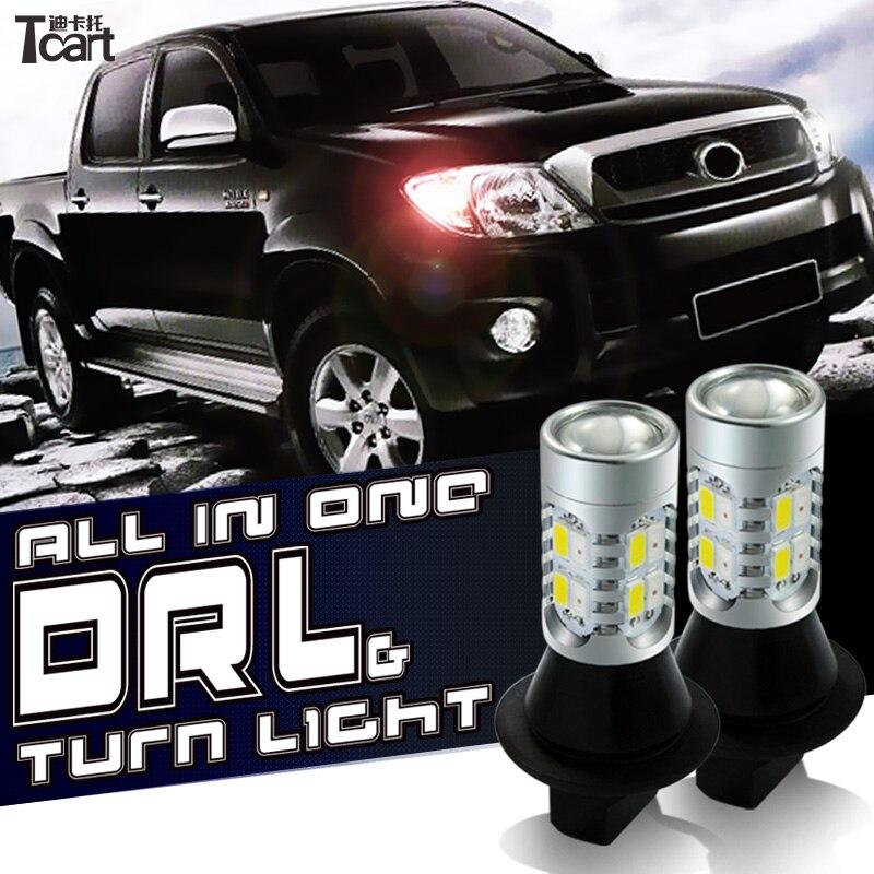Tcart 2 pz 7440 T20 WY21W LED DRL LED Daytime Running Lights indicatore di direzione spedizione gratuita Per Infiniti FX37 FX 50 2011