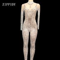 Big Crystals Mesh Jumpsuits Sexy Rhinestones See Through Bodysuit Stage Dance Wear Women's Evening Celebrate Stretch Costume