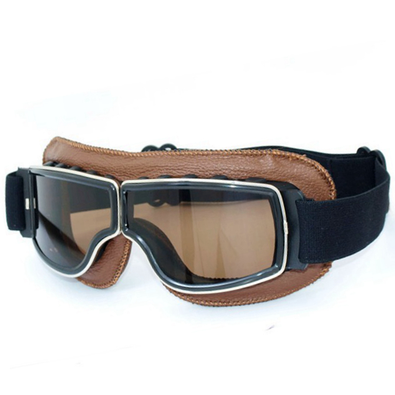 2016 NEW Hot Aviator Pilot Cruiser Cycling Bicycle Motorcycle Goggles Glasses Eyewear Brown Genuine Leather Frame Smoke Lens