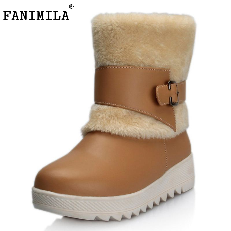Fashion Women Winter Snow Boots Warm Mid-Calf Boots Winter Suede Leather Shoes Flat Shoes Sapato Feminino Size 34-40 fedonas russia women boots keep warm snow boots platforms winter mid calf boots fashion solid color high shoes woman white black
