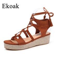 3ada9c583 Ekoak genuína mulheres de couro gladiador sandálias roma plataforma moda  mulheres sandálias lace-up verão praia sapatos casuais .