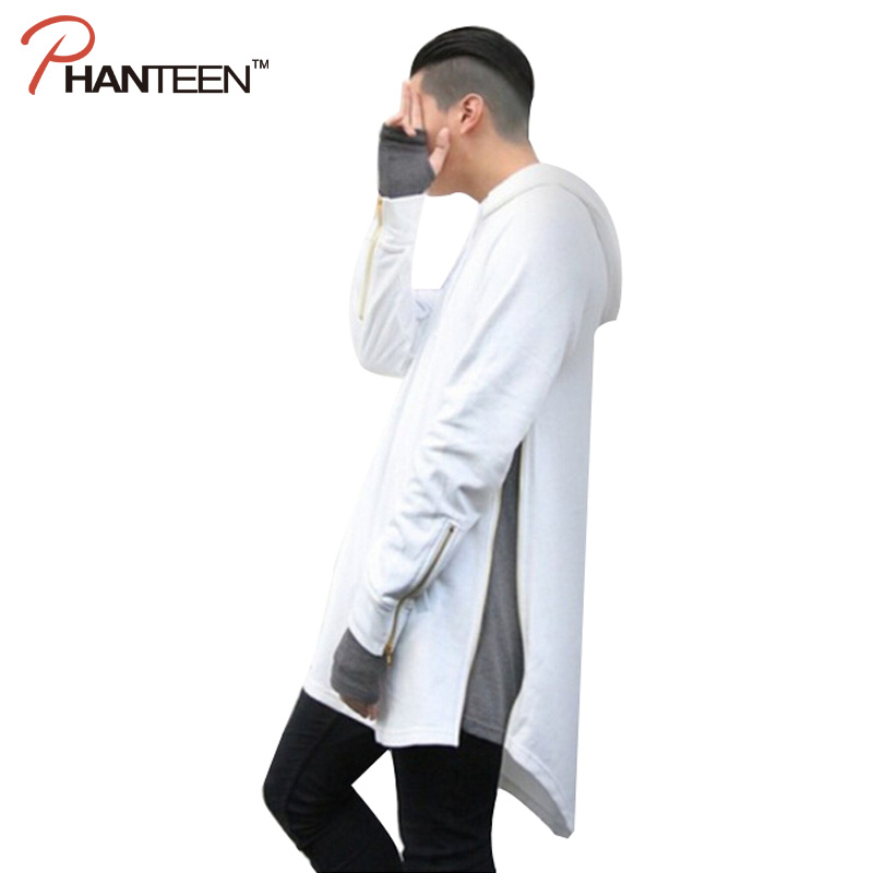 Individual Zipper Design Hiphop Long Length Man Loose Streetwear Popular Men Novelty Hoodie Fashion Solid Color