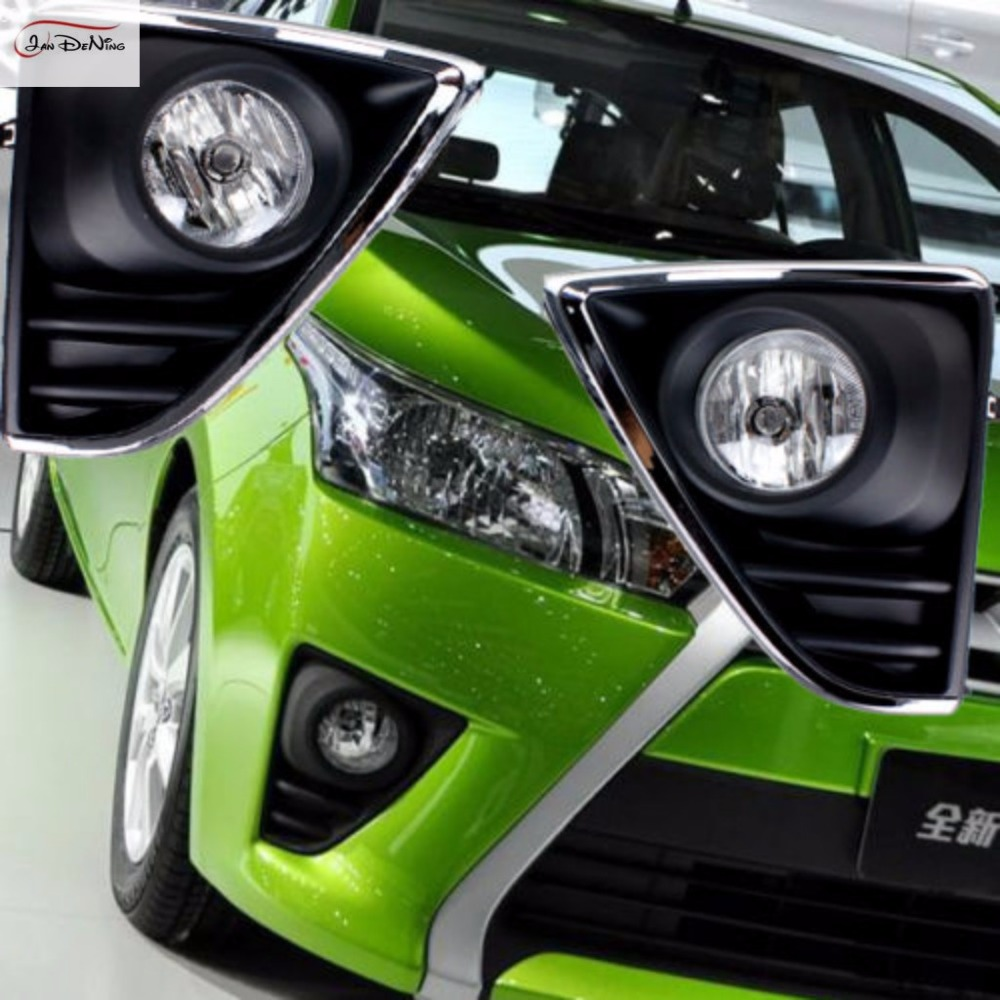 JanDeNing Car Fog Lights For TOYOTA YARIS 2014-2016 Clear Front Bumper Fog Lamp Cover Trim Replace Assembly kit black (one Pair) fog lights lamp for toyota yaris senda 2006 belta vios 2007 clear lens pair set wiring kit fog light set