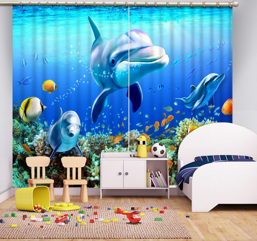 High quality custom 3d curtain fabric  dolphin curtains 3d Curtains Blackout for Living Room Kids Bedroom Fabric
