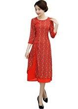 Shanghai Story Round Neck Long Qipao Chiffon Chinese Dress chinese style dress Oriental dress 3/4 Sleeve cheongsam