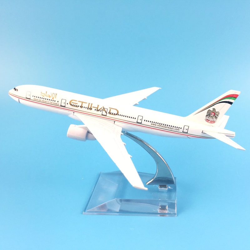 AIRLINER 16CM ETIHAD BOEING 747 METAL ALLOY MODEL PLANE AIRCRAFT MODEL TOYS AIRPLANE BIRTHDAY GIFTS image