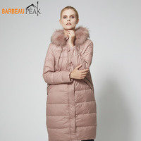 Barbeaupeak Winter Women Down Jackets Pink Long Style Female 80% White Duck Down Autumn Winter Warm Woven Casual Girl Down Coat
