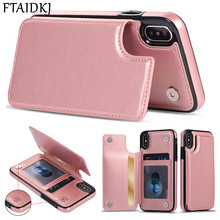 цена на Fashion Wallet Flip PU Leather Phone Case For iPhone 7 Case For iPhone XR XS Max X 7 6 6S 8 Plus Card Holder Stand Cover Coque