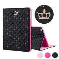 Luxury PU Rhinestones Crown Cover Case For IPad2 IPad3 IPad4 IPad Air Air2 Mini Mini2 Mini3