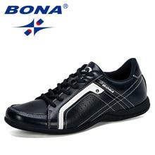 BONA Men Flats Microfiber Lacing Shoes Breathable Men Casual Shoes Fashion Sneaker Men Loafers Outdoor Man Leisure Footwear