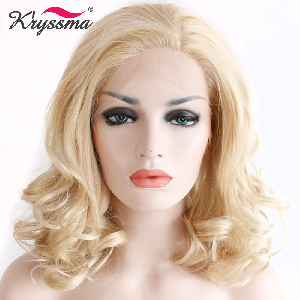 Light Blonde Synthetic Lace Front Wig Short Wavy Wigs for Women Free Part Natural Hairline Heat