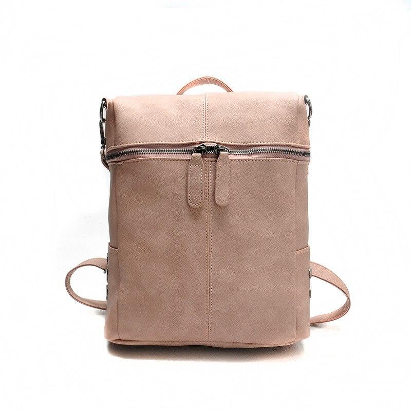 Simple Style Backpack 2017 Women PU Leather Backpacks for Teenage Girls School Bags Fashion Vintage Solid Shoulder Bag Pink